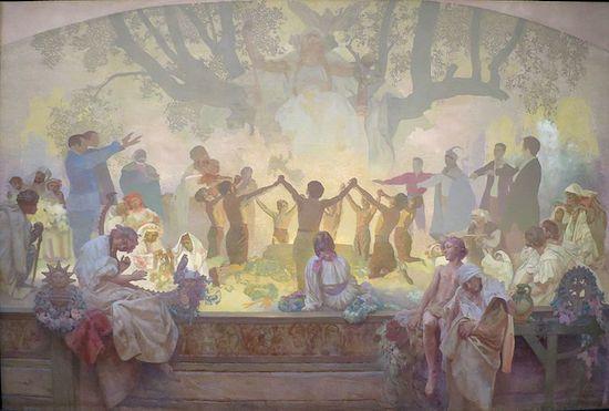 スラヴ菩提樹の下でおこなわれるオムラジナ会の誓い